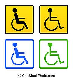 incapacitado, cadeira rodas, sinal