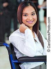 incapacitado, cadeira rodas, trabalhador, escritório