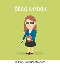incapacitado, cego, mulher