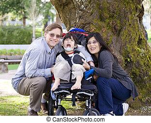 incapacitado, cercado, pais, criança