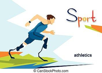 incapacitado, corredor, desporto, competição