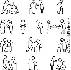 incapacitado, cuidados de saúde, amamentação, ícones