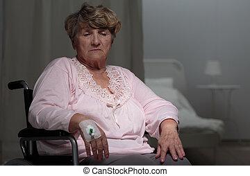 incapacitado, doente, mulher