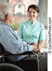 Incapacitado, enfermeira, paciente, visitando