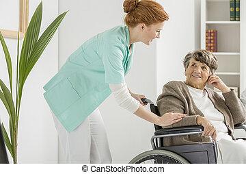 incapacitado, enfermeira, sênior, visitas