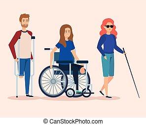 incapacitado, ferimento, físico, reabilitação, pessoas