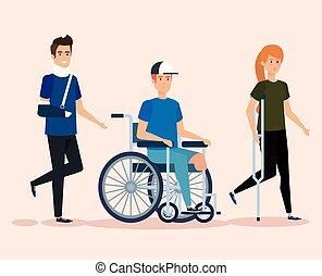 incapacitado, ferimento, terapia, físico, pessoas