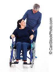 incapacitado, hablar, hombre, maduro, esposa