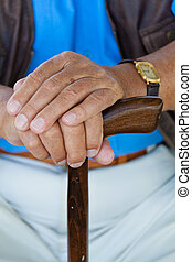 incapacitado, hombre mayor, cane., mano