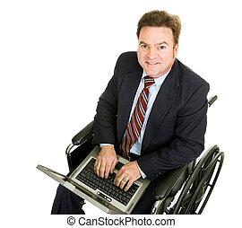 incapacitado, homem negócios, computador