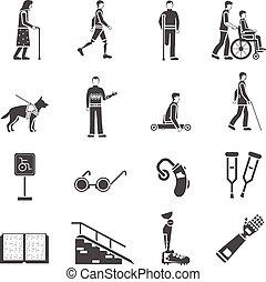 incapacitado, jogo, pessoas, ícones, limitou, pretas