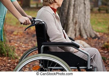 incapacitado, ligado, cadeira rodas