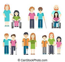 incapacitado, paciente, illustration., pessoas, cadeira rodas, ajudando, pessoa, vetorial, enfermeira, limitou