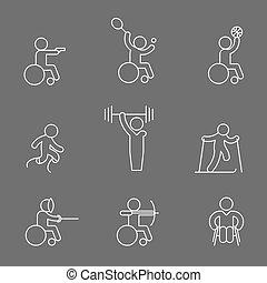 incapacitado, paralympic, pictograma, esboço, ícones