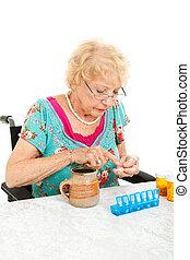 incapacitado, sênior, examinando, dela, medicação