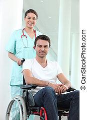 incapacitado, sílla de ruedas, enfermera, hombre
