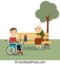 incapacitado, sílla de ruedas, parque, hombre