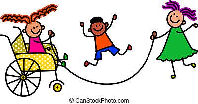 incapacitado, saltando, crianças