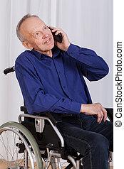 incapacitado, teléfono, hombre conversación