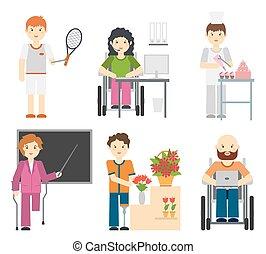 incapacitado, trabalho, ocupações, trabalhadores, pessoas, incapacidade, jovem, isolado, limitou, experiência., branca, cadeira rodas