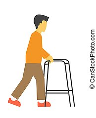 Incapacitated faceless person with metal walkers vector illustration isolated.
