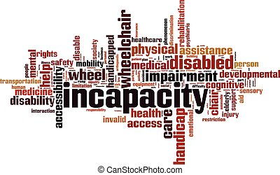 Incapacity word cloud concept. Vector illustration
