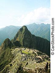 Incas city Machu-Picchu in Peru - Landscape in lost city...