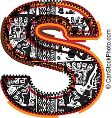 incas, vecteur, police, illustration