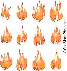 incendi, vettore, isolato, collezione, bianco