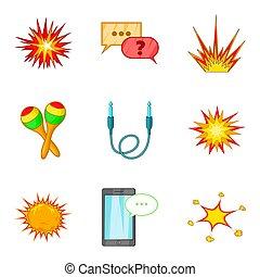Incendiary icons set, cartoon style - Incendiary icons set....
