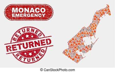 incendio descontrolado, mapa, angustia, emergencia, collage,...