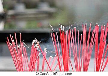 incense burning temple Thailand - aroma, aromatherapy,...