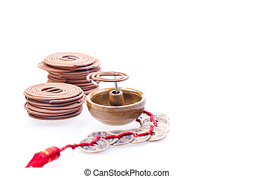 Incense burning with chinese old coins colse up - Mini...