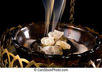 Incense on charcoal - Closeup of real smoking church incense...