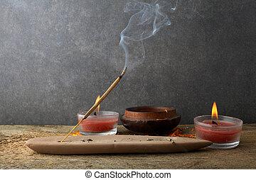 Incense stick and smoke from incense burning. Beautiful smoke. Aromatherapy