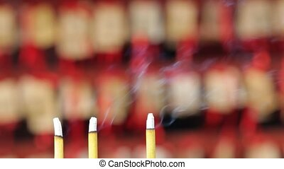 Incense sticks at a temple in Shanghai, China