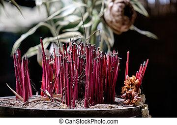 Incense sticks in the incense burner