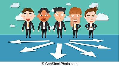 incertezza, ditta, scoperta, società, lavorativo, capo, carattere, lavoro squadra, avversità, affari, lavoro, preoccupazione, associazione, scelta, lavoro, appartamento, concetto, cartone animato, ufficio, comunicazione, squadra, freccia, vettore, impiegato, gruppo, corporativo, pensare, pensare, successo, brainstorming, businesspeople, collaborazione, globale, sfida, infographics, progresso, decisioni, direttore, umore, finanza, marketing, professionale, illustrazione, persone, minimo, direzione, comico, idea, situazione, uomo affari