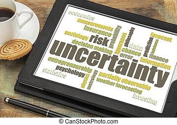 incertezza, parola, rischio, nuvola