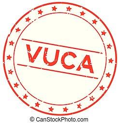 incertitude, grunge, timbre, (abbreviation, cachet, caoutchouc, complexité, arrière-plan rouge, vuca, volatility, mot, blanc, rond, ambiguity)