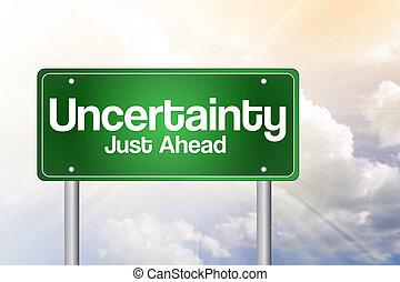 incertitude, juste, devant, vert, panneaux signalisations, concept affaires