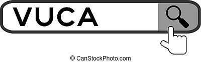 incertitude, recherche, mot, (abbreviation, sur, main, complexité, fond, vuca, volatility, loupe, blanc, bannière, trouver, ambiguity), icône