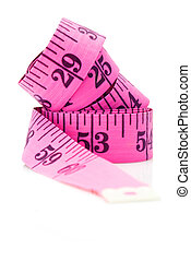 Inch scale pink measuring tape on white background