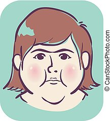 inchado, ilustração, rosto, menina, redondo, sintoma