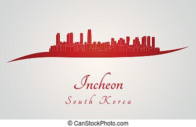 Incheon skyline in red