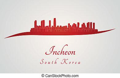 Incheon skyline in red