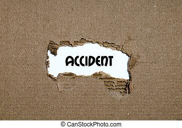 incidente, apparire, strappato, Dietro, carta, parola