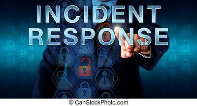 incidente, coordinator, planchado, incidente, respuesta