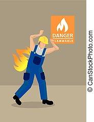 incidente, fuoco, lavoratore, illustrazione, vettore, posto lavoro, cartone animato