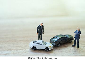 incidente, persone, arguire, automobile, driver, secondo, collision., due, miniatura, traffico, :, uomo